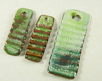 Green Torch Enameled Pendant and Earring Components