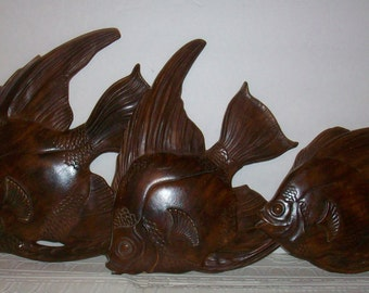 3 Vintage Brown Fish