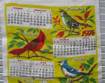 vintage 1974 linen calendar towel birds rustic country primitive 70s kitchen hostess gift