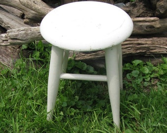 painted wooden stool rustic round wooden stool vintage farmhouse decor primitive stool