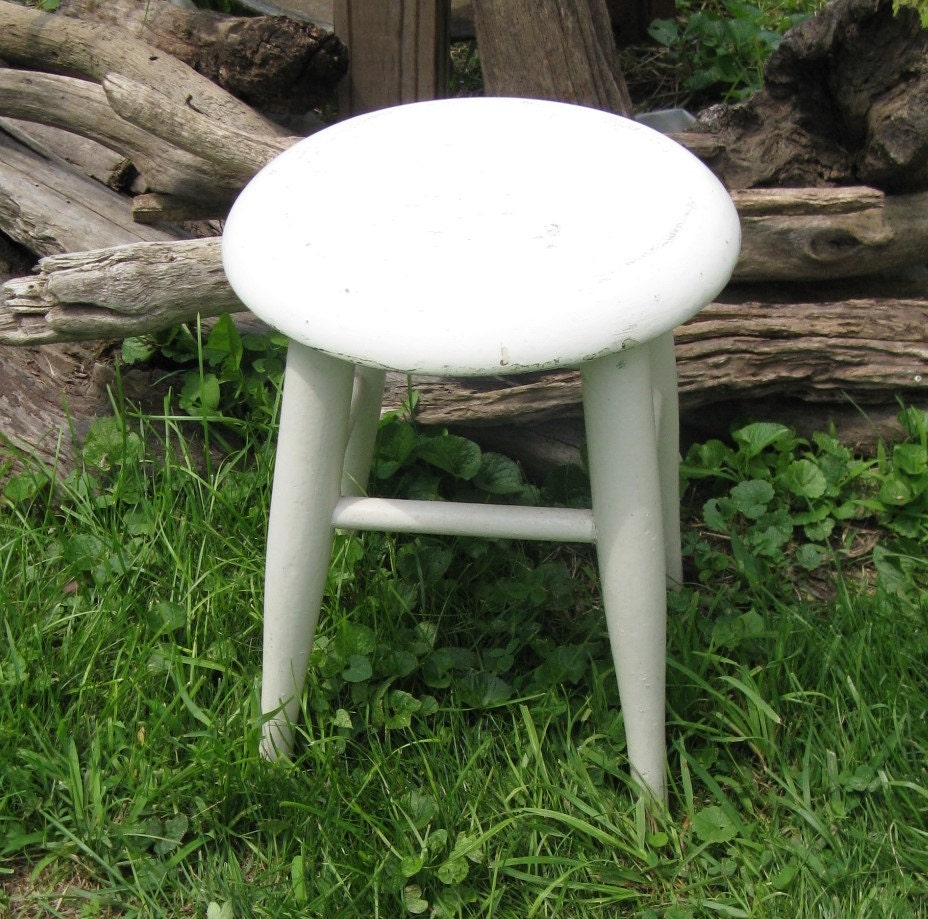 Painted Wooden Stool ~ Painted wooden stool rustic round by