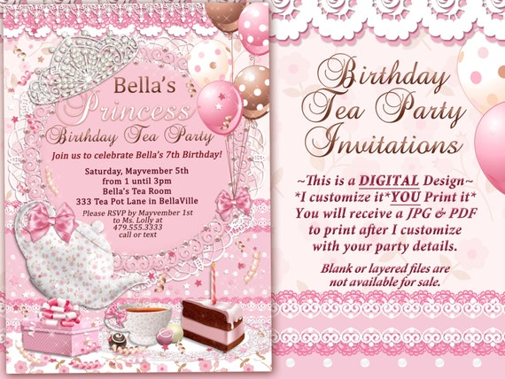 Tea Party Invitation Princess Tea Party Birthday Tea Party – Princess Tea Party Invitation