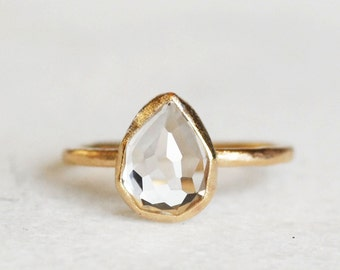 Topaz Wedding Ring - Gold and White Topaz Ring - Rose Cut Tear Drop Topaz Ring