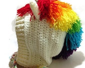 Rainbow Unicorn Hood Crochet Pixie Hat Unicorn Cosplay Hood Crochet Unicorn Hat Winter Animal Hood Kawaii Cosplay Hat