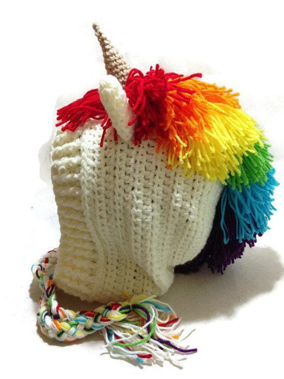 Crochet Pattern For A Unicorn Hat : Rainbow Unicorn Hood Crochet Pixie Hat Unicorn Cosplay ...