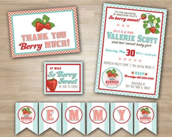Berry Sweet Strawberry Baby Girl Shower Party Package, includes pennant banner, thank you card and favor tags