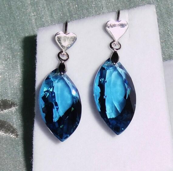 26 cts Natural Marquise cut London Blue gemstones, .925 sterling silver heart hooks Pierced Earrings