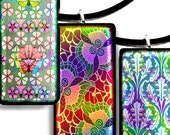 Printable Digital Pendant Images, 1 X 2 Inch  Very Colorful Patterns Instant Download 24 Different  Pendants Scrapping CS 340