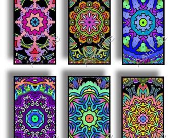 1X2 Inch Digital Printable Images 24 Different Mandalas for Pendants Scrapbooking Paper Craft Instant Download CS 436