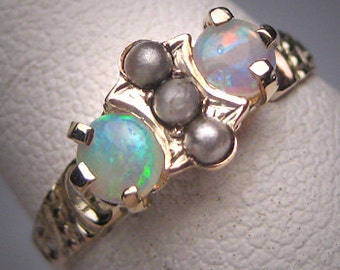 Antique Australian Opal Ring Victorian Ornate Gold Wedding