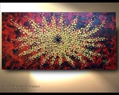"Flower Burst - Original Flower Painting, Large canvas Art, Red Gold, canvas wrap oil, abstract painting, 72"" 48"" 36"", textured piece OTO"