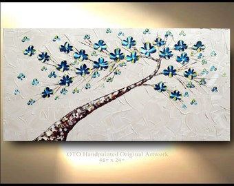 Tree Painting Original Wall art Taupe Teal Blue Flower Tan Yellow Abstract Art Canvas oil painting Wall Decor Artwork OTO T Jenkins