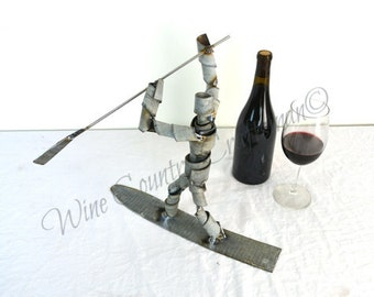 """Wine Bot - """"Surf's Up"""" - Stand Up Paddle Board Wine Barrel Ring Art // Surfing collectible // Unique statue // Reclaimed steel // Beach gift"""