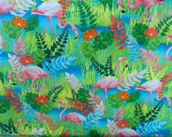 Flamingo Fabric Everglade Fabric with Pink Flamingoes Benatrex Fabric Cotton Fabric