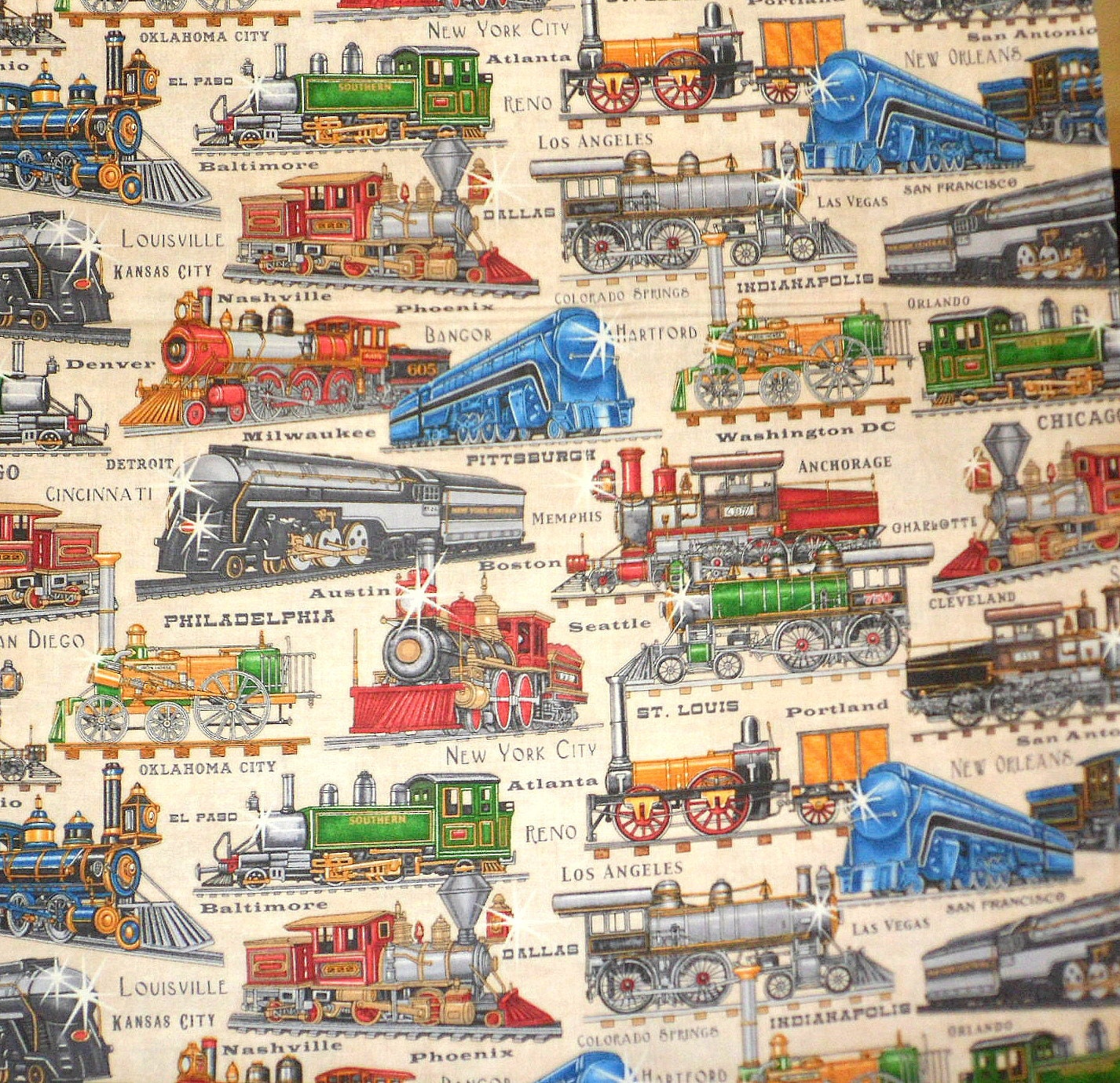 Trains from the past material train fabric old trains cotton for Fabric with trains pattern