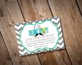 Digital Printable Little Man Baby Shower Book Insert Cards INSTANT DOWNLOAD