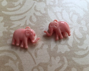 NEW Indie style petite carved elephants light pink peach synthetic coral 2 pcs