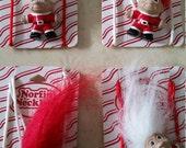 Vintage Dead Stock on Original Card Santa Norfin Danish Troll Doll Necklace Christmas Santa Hat Red Coat White Hair Red Hair 1990s