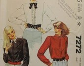 Size 14 Mccalls 7272 Fashion Ruffle Please Yoke Button Up Long Sleeve Shirt Top Blouse 1980s Vintage  Uncut Women MIsses Sew Sewing Pattern
