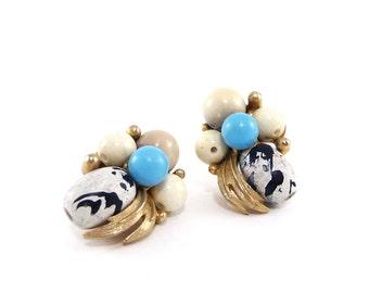 Vintage clip-on beaded earrings, Signed Art, Gold gilt