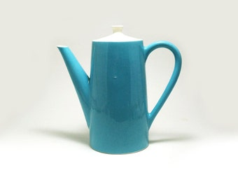Mikasa cera stone style coffee pot - robin's egg blue and white ceramic teapot pitcher