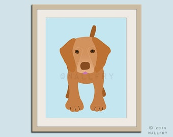 Vizsla print puppy dog nursery decor. Dog nursery print. Art for children, kids decor. Custom dog art kids. Art print by WallFry