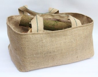 16 or 18 inch Hessian Burlap Firewood, Garden & Harvest Bag, Basket, Rustic Jute Storage - UK - Gardening, Trug, Kindling Bag, Tool Holder