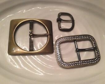3 vintage metal belt buckles