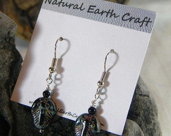 Fun brown black trilobite earrings Czech glass onyx fossils geology semiprecious stone jewelry packaged in a gift bag 2345 ABCDE GHI