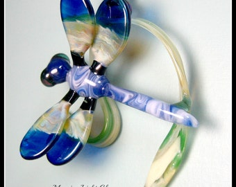 Bright Blue Dragonfly Glass Ornament Wall Sculpture Boro Art Glass Nature Inspired Home Decor