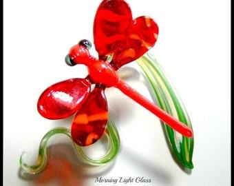 Red Orange Glass Dragonfly Ornament Sculpture Boro Art Glass Nature Inspired Home Decor