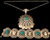 Egyptian Filigree Set Of Necklace&Bracelet With Scarabs