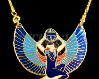 Egyptian Blue Winged Isis Holding Scarab Necklace