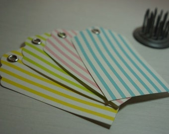 ON SALE!** 10 Candy Stripe Gift Tags with Metal Reinforced Hole 9x5cm ~ *Birthday *Baby Shower