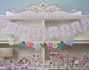 Under the Sea Mermaid Rosette Pennant Banner by Loralee Lewis