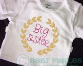 Big Sister glitter shirt, Big Sis, Sparkly shirt, Pink Gold Glitter, Princess Big Sister, Pregnancy Announcement, Gender Reveal Shirt