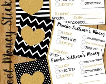 Personalized School Money Stickers, Set of 20, Teacher Notes, Lunch Money, Field Trip Money, Library Money, Kindergarten Teacher Note