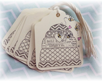 Bee Hive - Bee Skep- Fancy Gift Tags (8)