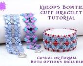 Kheops Silky Bow Tie Cuff Bracelet Tutorial, Two Hole Kheops Par Puca, Diamond, O Bead RAW Beadweaving Pattern, Laura Graham Original Design