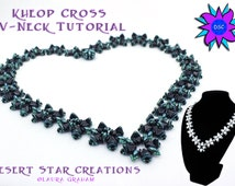 Kheop Cross V-neck Necklace Tutrorial, Two-hole Bead Necklace Pattern, Triangle Superduo Kheops para Puca Pattern, Laura Graham Design PDF