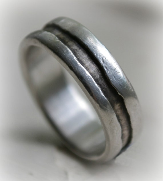 Rustic Wedding Ring Handmade Artisan Designed Oxidized Unisex Fine