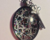 Hand Painted Pendant  --  NEW  --  Black and Silver Shatter Pendant  --  Handmade Necklace  --  One of a Kind  --  (#1304)