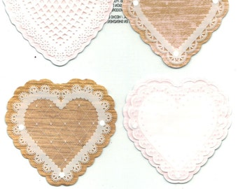Martha Stewart Crafts--  Country Doily Hearts -- 6 pieces -- large heart stickers  --  NEW  (#1208)