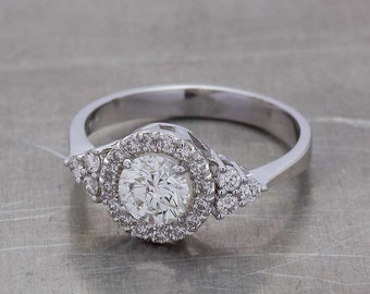 1 Carat Diamond Ring - 1 Carat Diamond Halo Ring - Diamond Engagement Ring - Diamond Ring - White Gold Diamond Ring