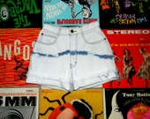 Vintage Denim Cut Offs - 80s High Waisted Bleached, Distressed, Acid Wash Jean Shorts by Generra, Frayed, Size 0 00 xxs xs OOAK