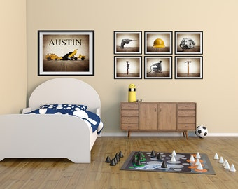 Construction nursery etsy for Construction themed bedroom ideas