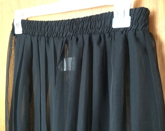 Womans Size 12Black Accordion Sheer High Waisted Evening Pants