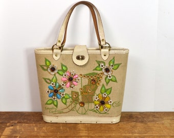 Vintage 1960's Enid Collins San Francisco Country Carriage Cream Tote / Purse