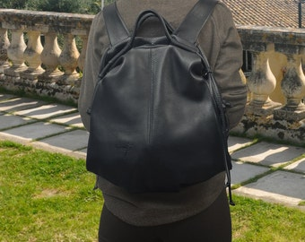 Handmade leather backpack - Katerina in Navy blue color,MADE TO ORDER