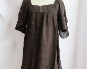 D24,Brown Butterfly Effect Cotton Dress